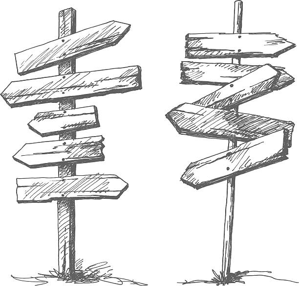ilustrações de stock, clip art, desenhos animados e ícones de mão desenhada sinais de estrada de madeira - driveway, no people