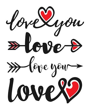 Hand drawn word LOVE.