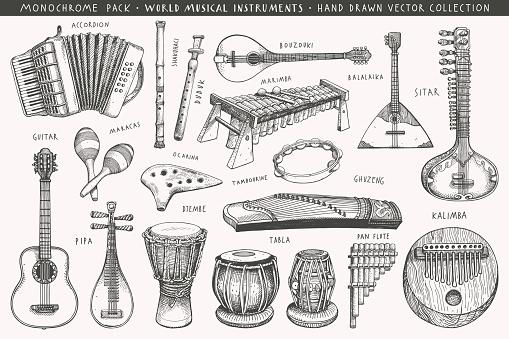 Hand drawn world musical instruments