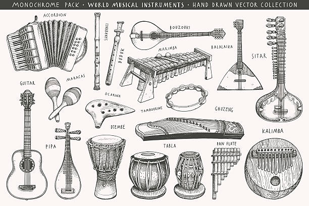 Hand drawn world musical instruments  A collection of eighteen acoustic instruments tavla stock illustrations
