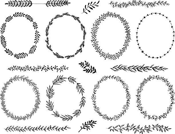 Hand drawn wreath design elements vector art illustration