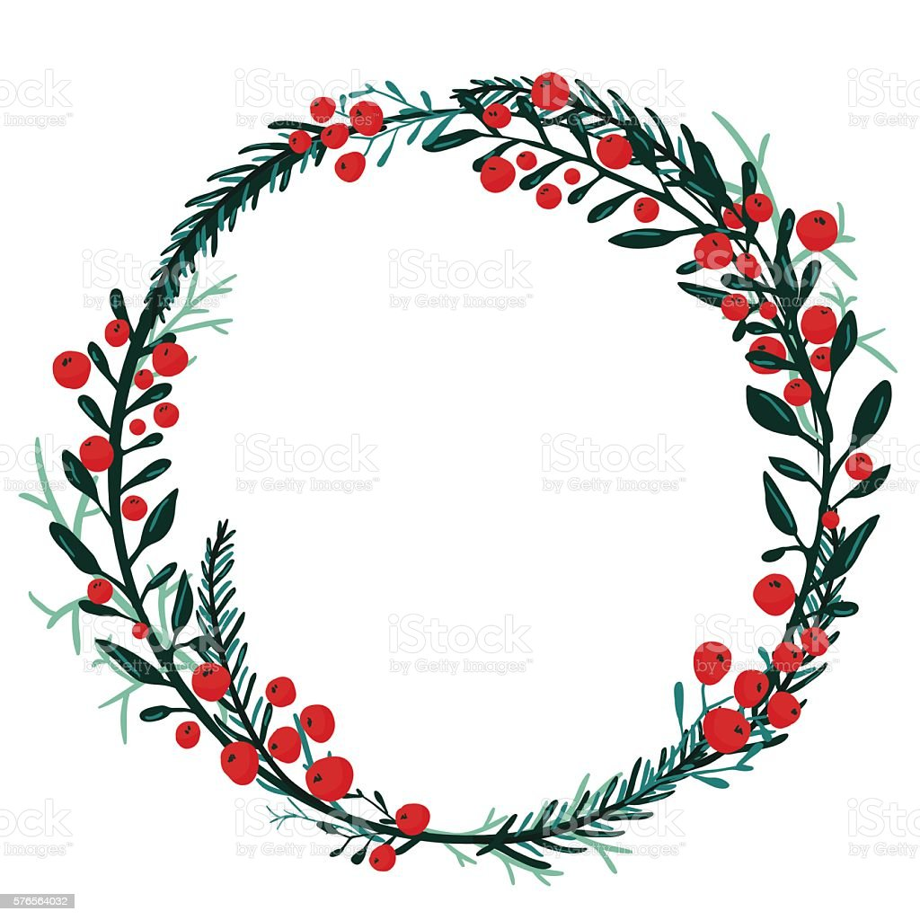 Hand drawn wreath with red berries and fir branches. vector art illustration