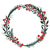 Hand drawn wreath with red berries and fir branches.