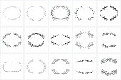 Hand Drawn Wreaths and Frames bundle for logo creating, wedding invitations and greetings cards