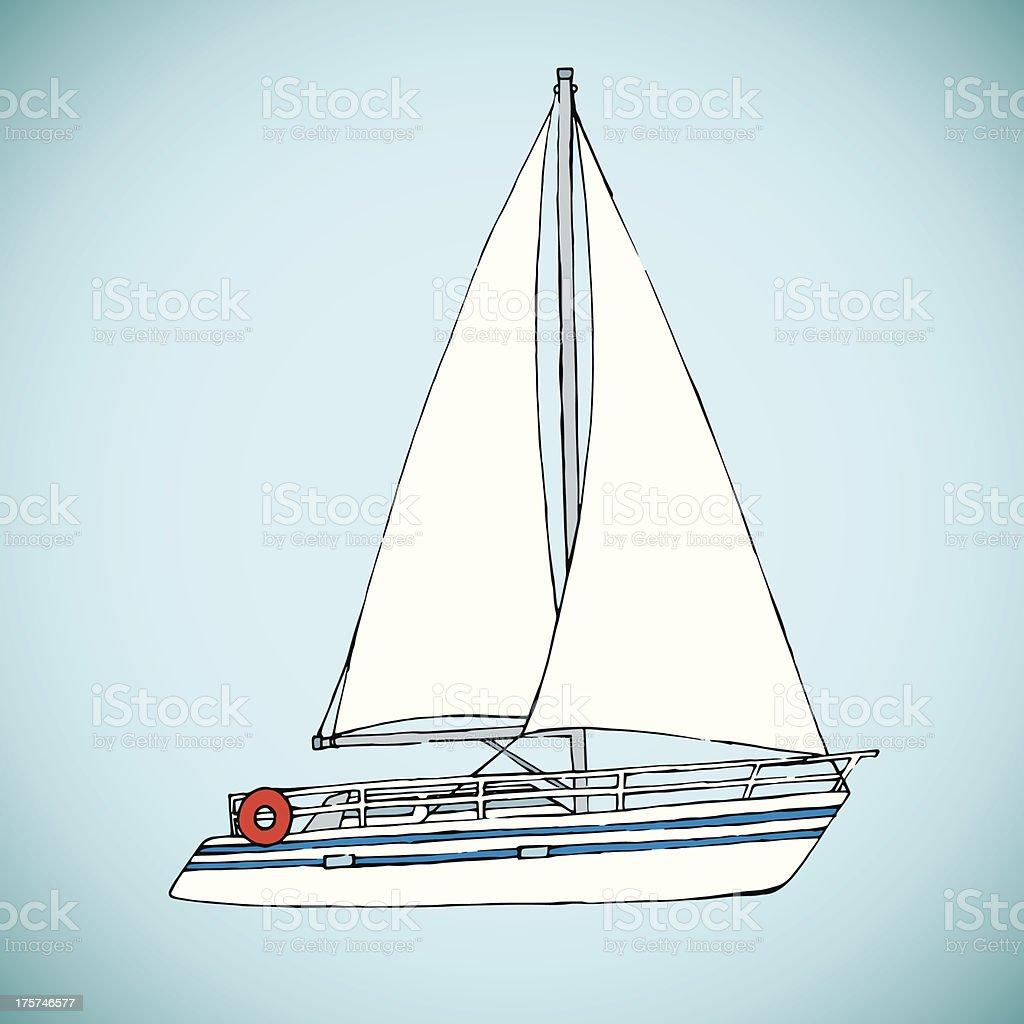 Hand Drawn Yacht royalty-free stock vector art