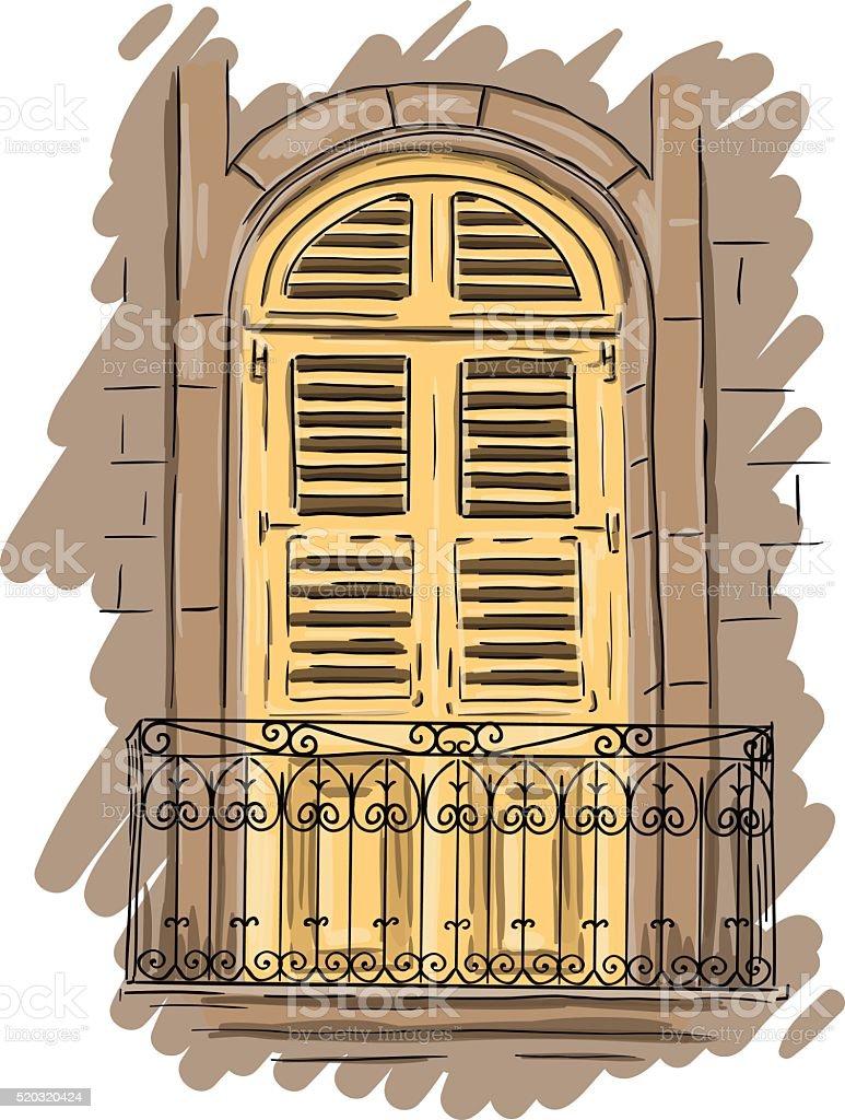 Hand drawn yellow balcony with lattice. Vintage shutters vector art illustration