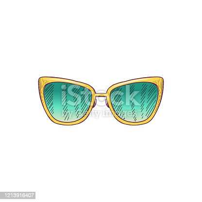 istock Hand drawn yellow butterfly sunglasses with green glass 1213916407