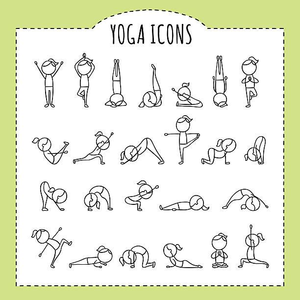 手描きのヨガポーズをとります。ヨガのポーズから。体操エクササイズ、ストレッチや瞑想ます。 - ヨガ点のイラスト素材/クリップアート素材/マンガ素材/アイコン素材