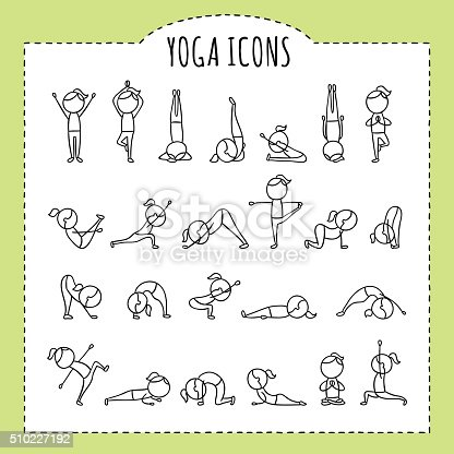 hand drawn yoga poses yoga asanas gymnastics exercises