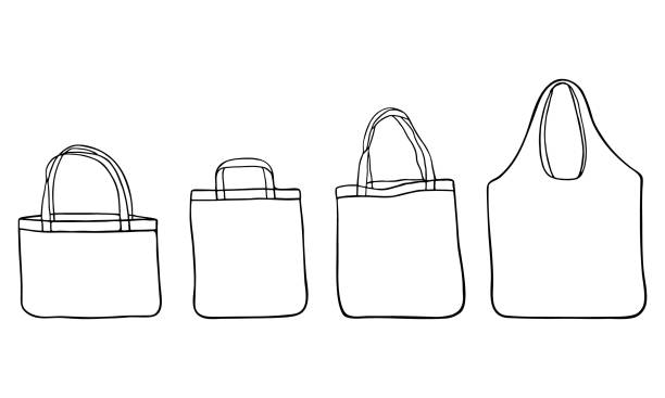 hand drawn zero waste cloth bags for shopping. - shopping bags stock illustrations