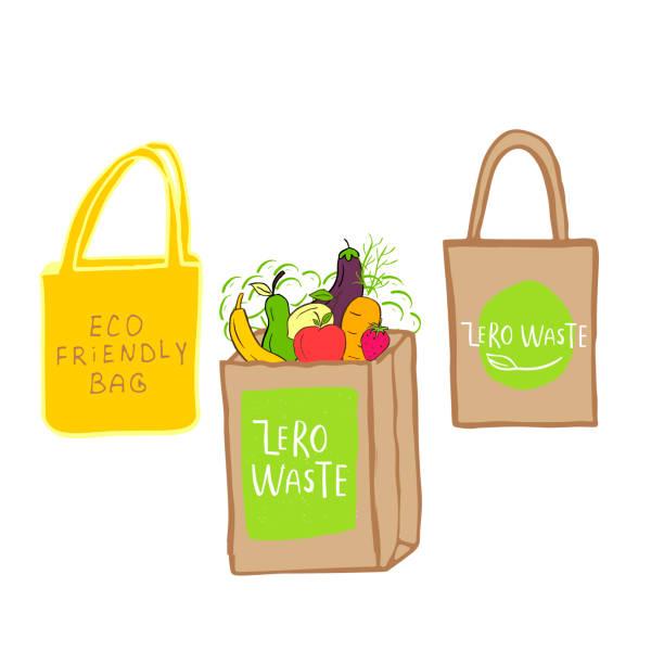 handgezeichnete zero-abfall-logo oder-schild. öko-abzeichen, etikett zum einkaufen, kein plastikmarkt, produkte verpackung. - stoffmarkt stock-grafiken, -clipart, -cartoons und -symbole