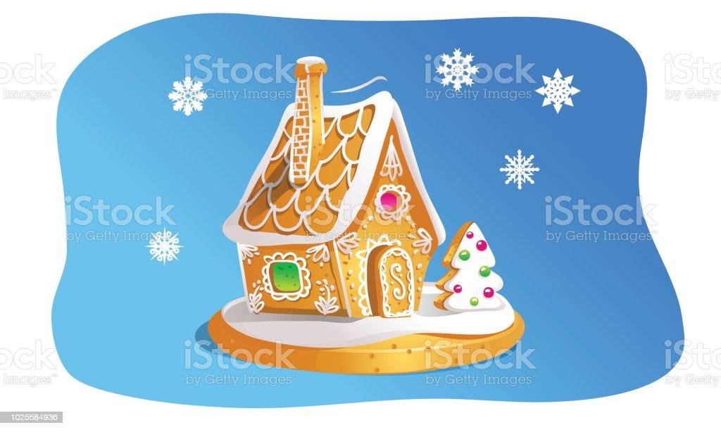 Braune Weihnachtskekse.Hand Drawninlebkuchenhaus Isoliert Auf Blauem Hintergrund