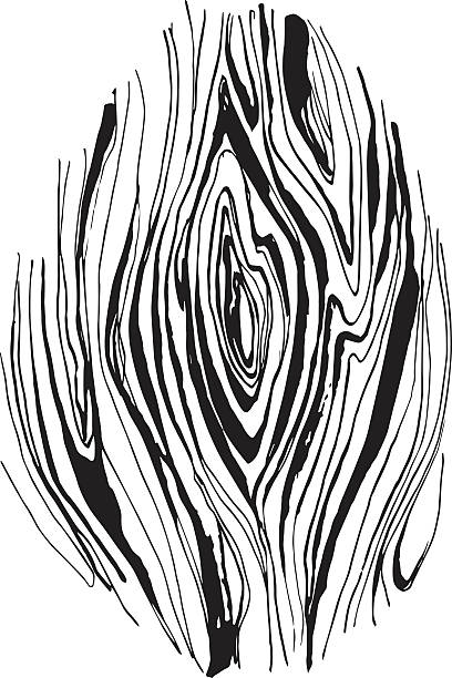 Hand drawnn ink watercolor grungy wooden texture Vector illustration Hand drawnn ink watercolor grungy wooden texture. Black and white knotted wood stock illustrations