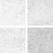 Hand draws dots seamless texture. A set of backgrounds for decorative halftone pattern fills. Mezzotint art.