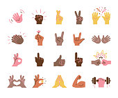 Set of hand gestures in different skin tones on white background.\nEditable vectors on layers.
