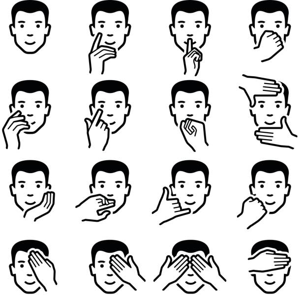ilustraciones, imágenes clip art, dibujos animados e iconos de stock de iconos emoticonos de mano - física