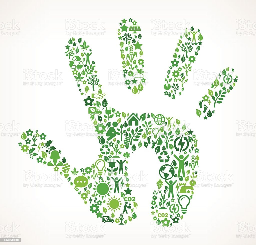 Hand On Green Environmental Conservation and Nature Icon Pattern