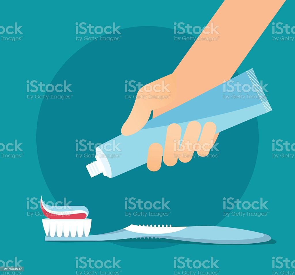 Hand extrude a toothpaste from a tube on a toothbrush. vector art illustration