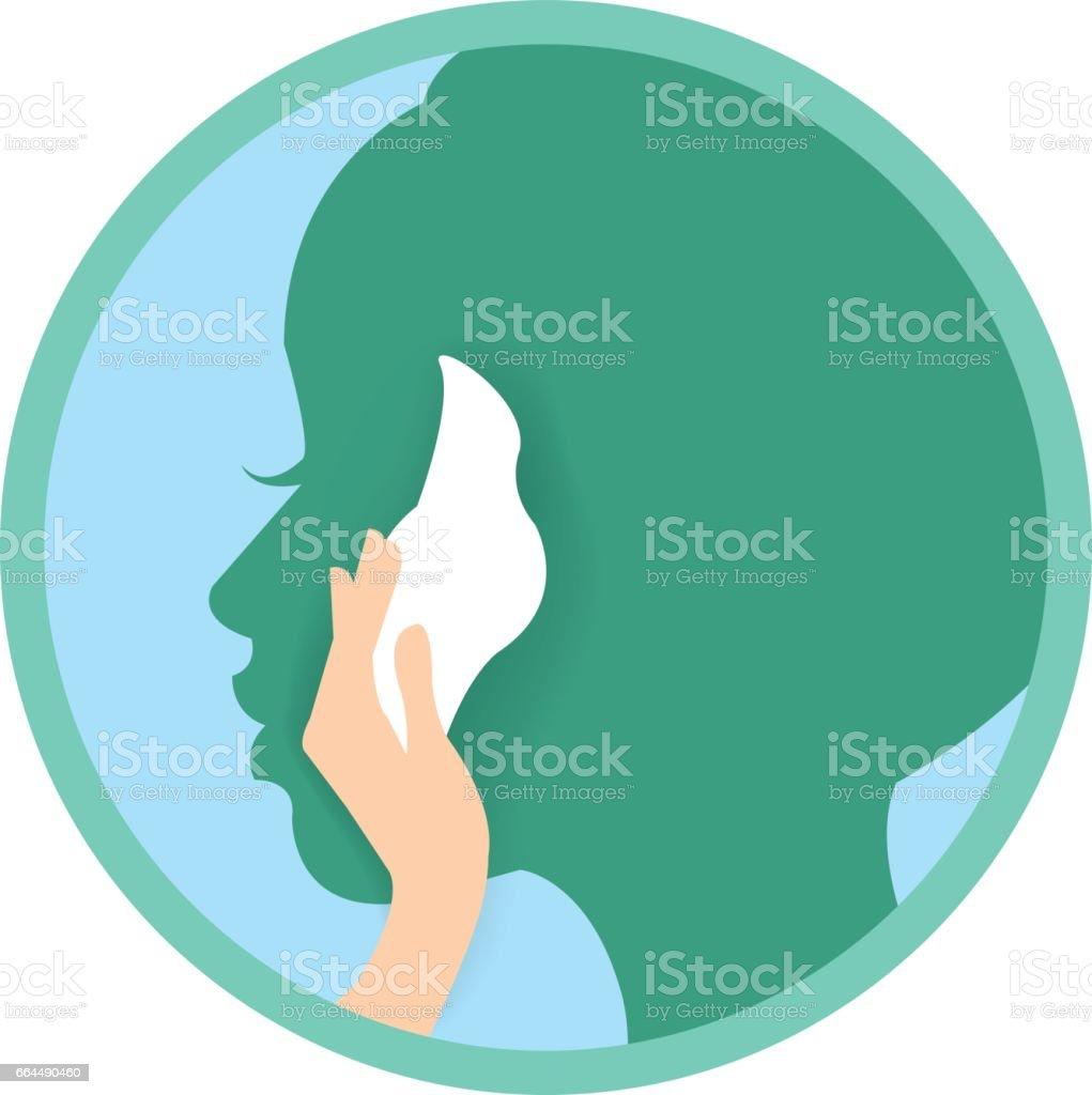 Hand face tissue vector art illustration
