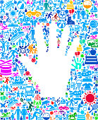 Hand Family Vacation and Summer Fun Icons Background