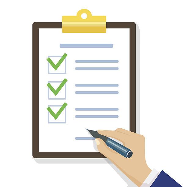 Hand füllt Checkliste für Zwischenablage  – Vektorgrafik