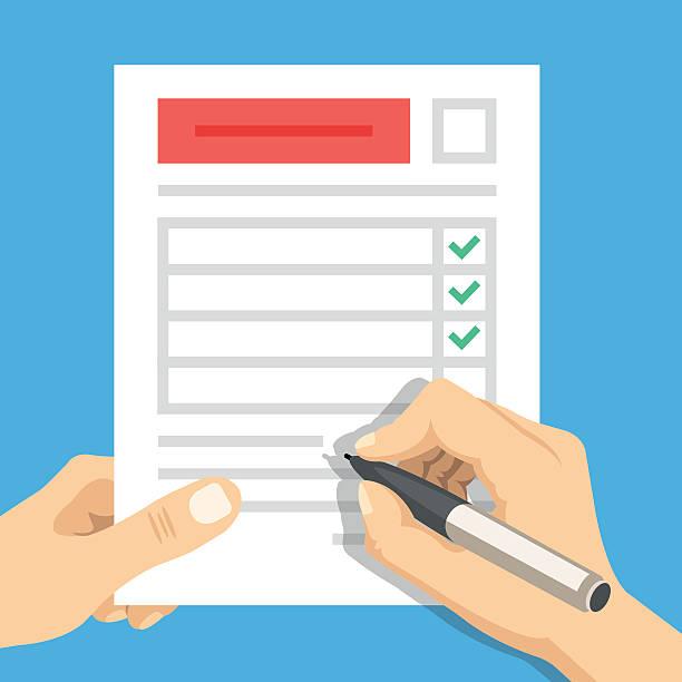hand filling form. hand holding survey sheet. flat vector illustration - menschliches körperteil stock-grafiken, -clipart, -cartoons und -symbole