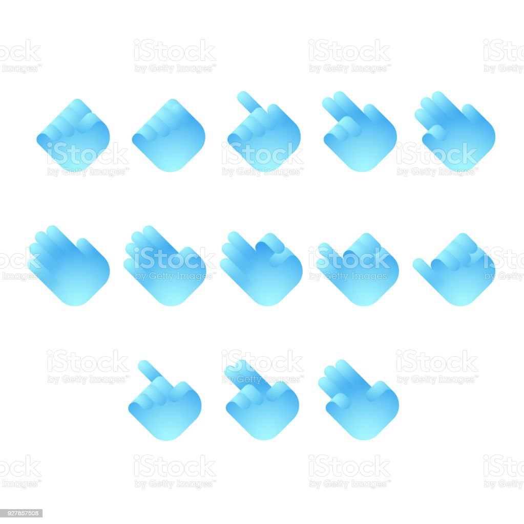 Hand Finger Counting Number Icons Set Sign Language Concept Design ...