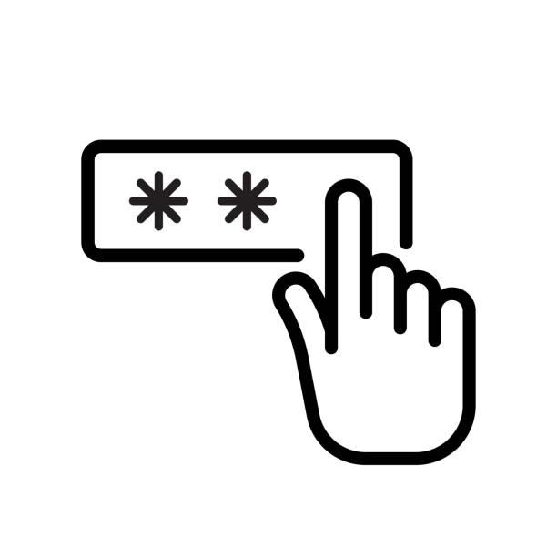 bildbanksillustrationer, clip art samt tecknat material och ikoner med hand fingret in pin-kod. lås upp och lösen ord - logga in