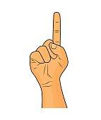 Hand finger up gesture vector - realistic cartoon illustration.