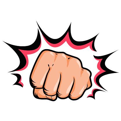 Hand, fist punching or hitting, comic pop art