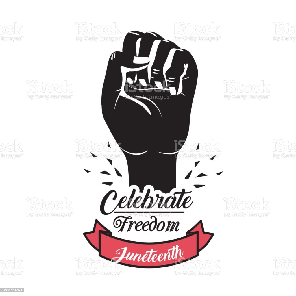 Hand Fist Up With Ribbon To Celebrate Freedom Juneteenth Stock