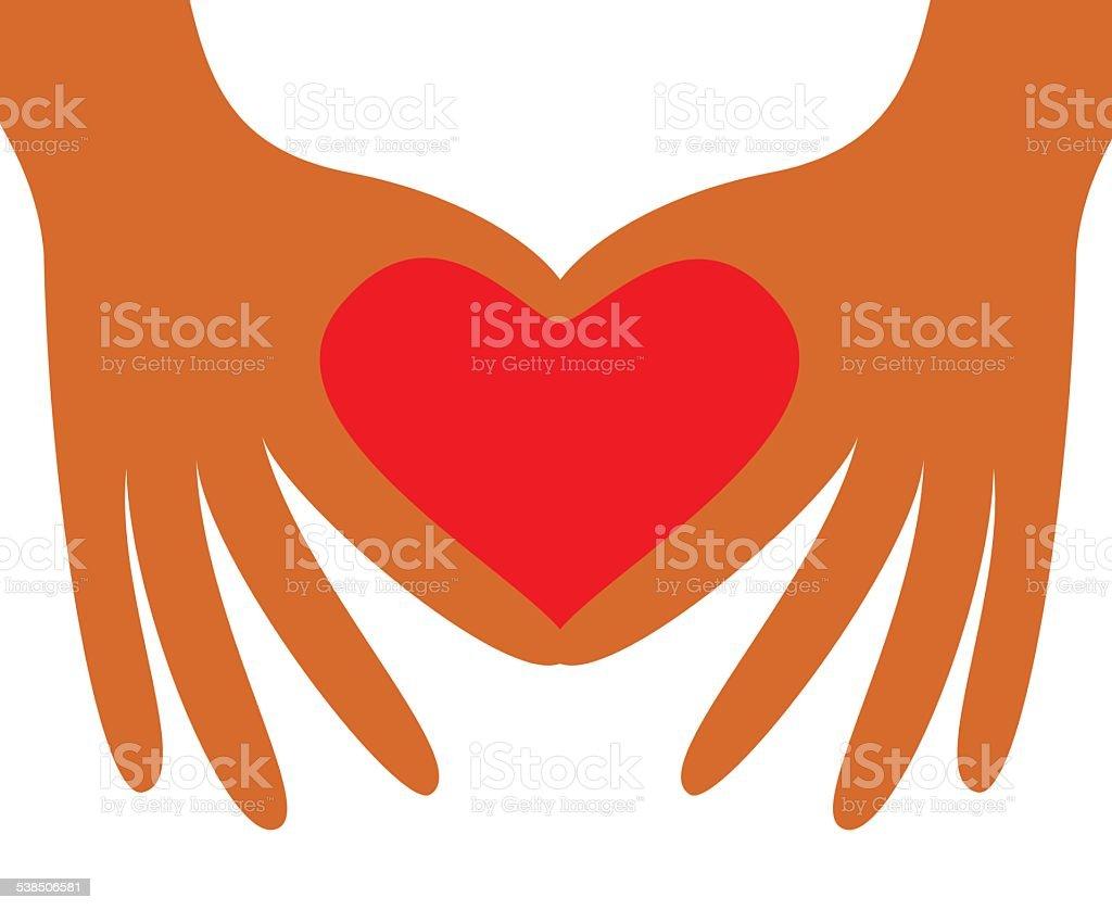 Hand forming heart shape vector art illustration