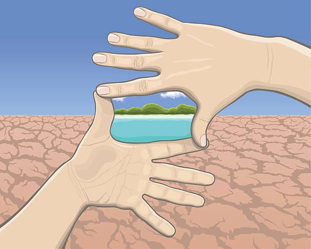 Hand frame, desert and dream beach vector art illustration