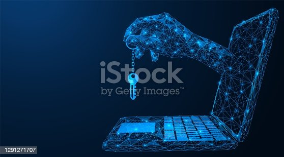 A hand from a laptop computer monitor holds the access key. Polygonal construction of concatenated lines and points. Blue background.