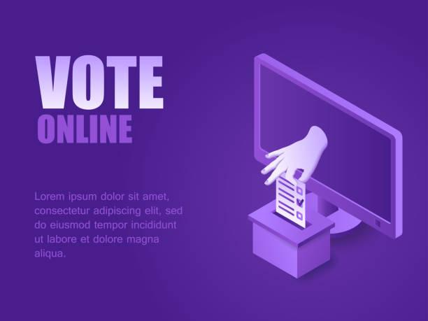 ilustraciones, imágenes clip art, dibujos animados e iconos de stock de mano del ordenador poniendo papel de voto en la urna isométrica - polling place