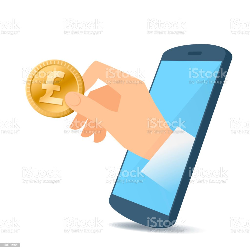 A hand from the mobile phone screen holds a pound. vector art illustration
