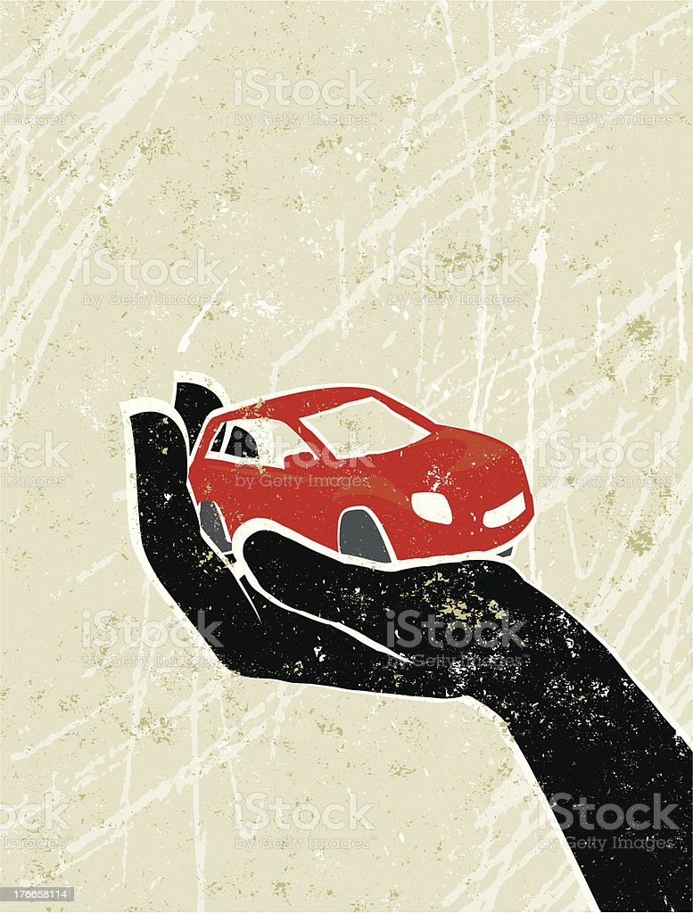 Hand Gently holding a Tiny Car vector art illustration