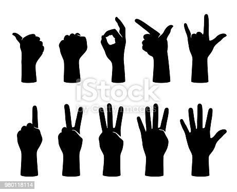 hand gesticulate symbol set, vector illustration