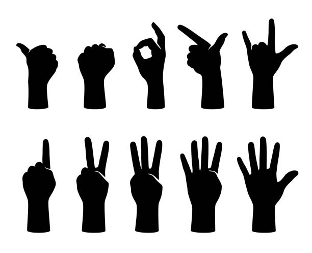 hand gesticulate symbol set, vector illustration hand gesticulate symbol set, vector illustration counting stock illustrations