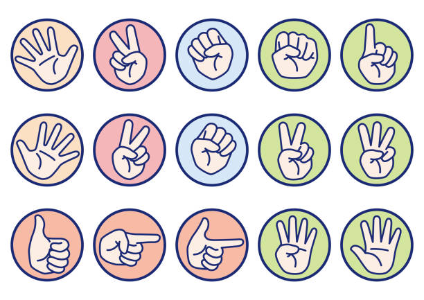 Hand gesture and sign icon collection Rock paper scissors etc hand sign set, vector illustration , peace symbol stock illustrations