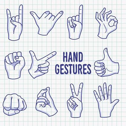 Hand Gesture Ballpoint Sketch Doodle Vector Illustration