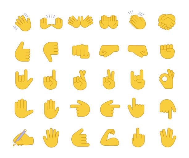 Hand gesture emojis color icons set Hand gesture emojis color icons set. Pointing fingers, fists, palms. Social media, network emoticons. OK, hello, rock, like gesturing. Hand symbols. Isolated vector illustrations emoji stock illustrations