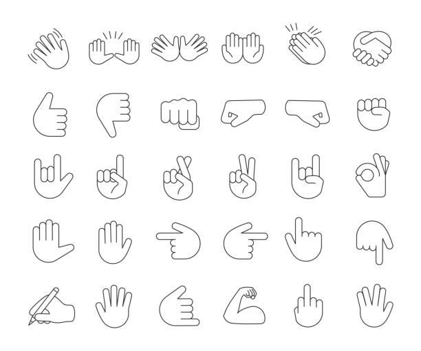 stockillustraties, clipart, cartoons en iconen met hand gebaar emoji's lineaire icons set - wijzen handgebaar