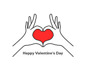 hand gesture heart like happy valentines day. flat stroke style trend modern graphic art design isolated on white background. concept of people body language for insurance or romantic date