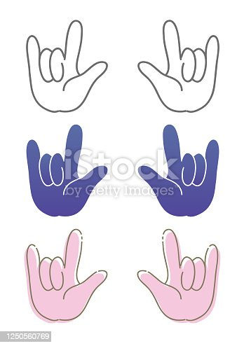 Vector material of gesture illustration.