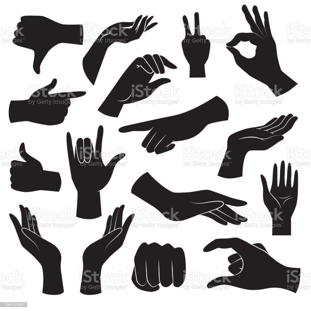 Hand gebaar icoon collectie. Vector kunst. - Royalty-free Aanraken vectorkunst