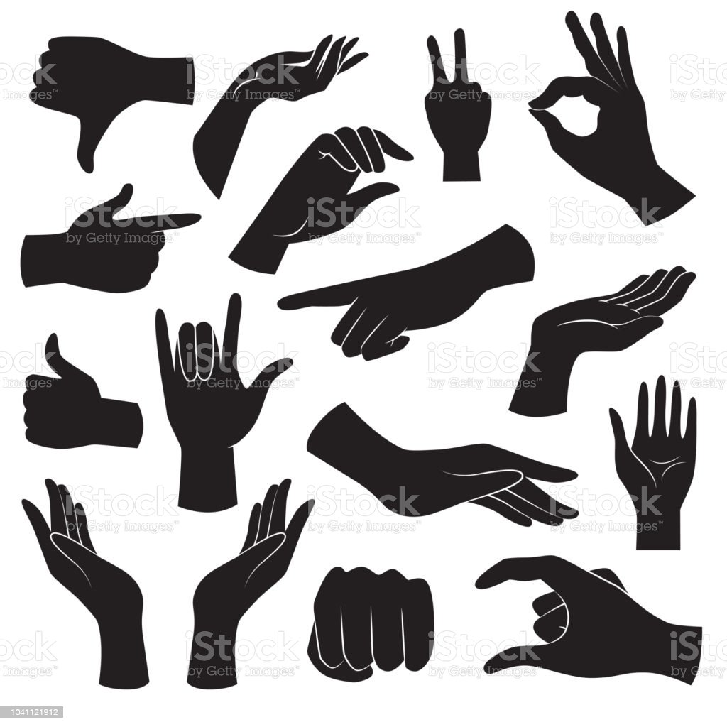 Hand gesture icon collection. Vector art. - Grafika wektorowa royalty-free (Abstrakcja)
