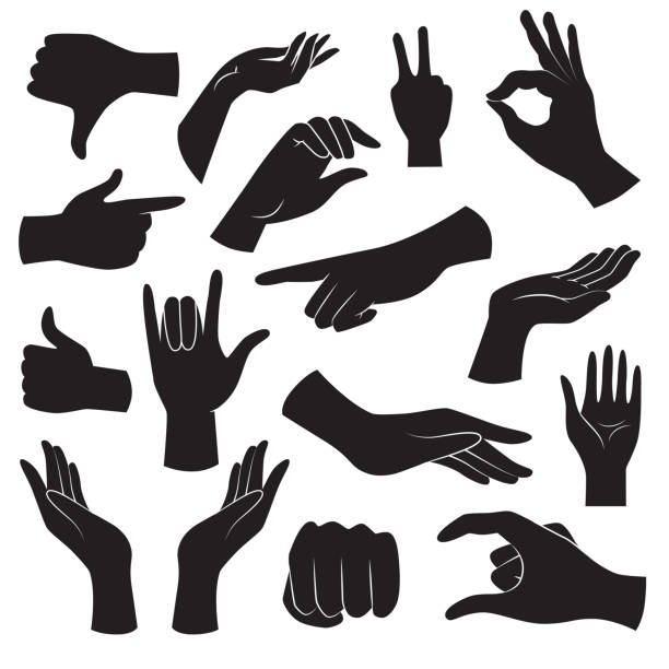 Hand gesture icon collection. Vector art. Vector icons: human hand gestures. hand stock illustrations