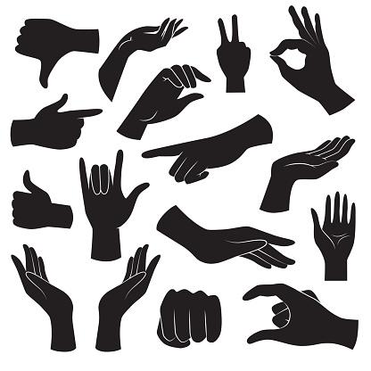 Hand Gesture Icon Collection Vector Art - Stockowe grafiki wektorowe i więcej obrazów Abstrakcja