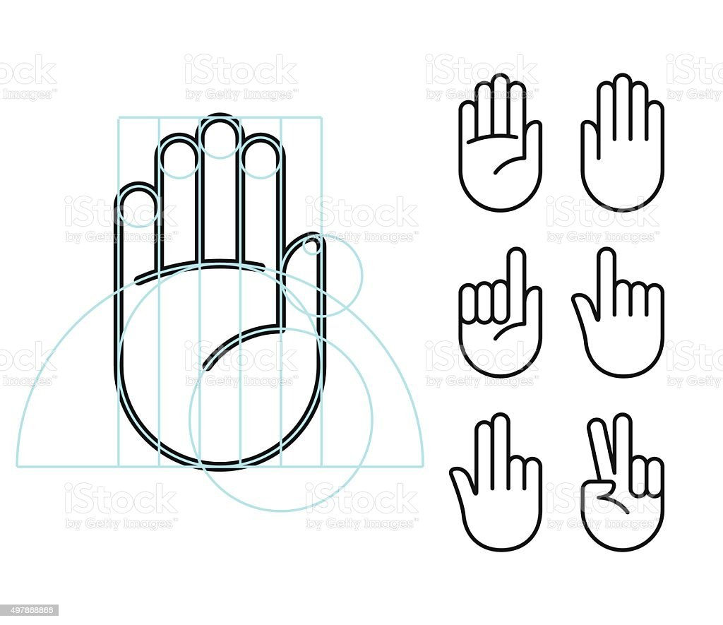 Hand gesture icons vector art illustration